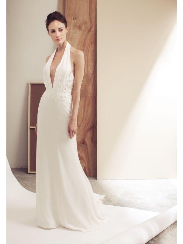 Crepe Wedding Dress With Open Back