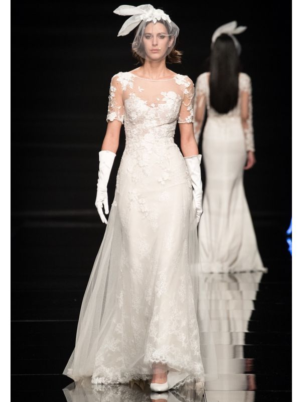 Beaded Flowers Wedding Dress With Sheer back