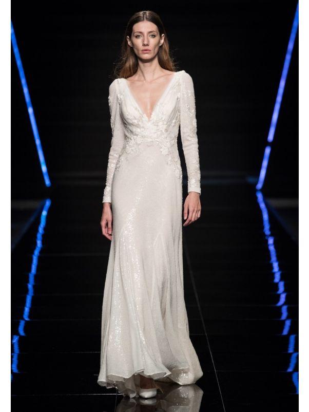 Sequined Long Sleeves Wedding Dress