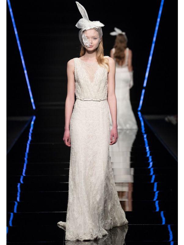 Heavily Beaded Lace Wedding Dress