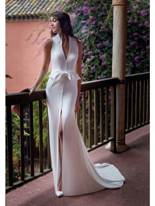 Crepe Wedding Dress With Slit