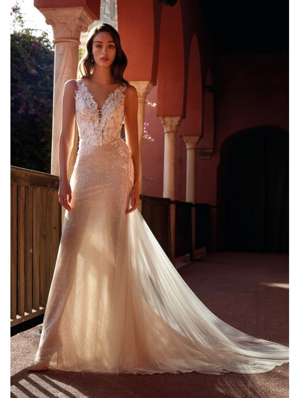 Embroidered Sequined Wedding Dress