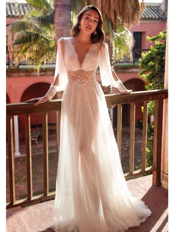 Embroidered Draped Tulle Wedding Dress