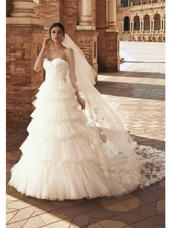 Floral Lace Ruffle Ball Gown