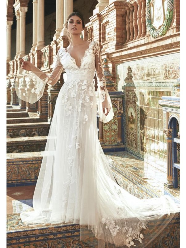 Lace Wedding Dress With Illusion Sleeves
