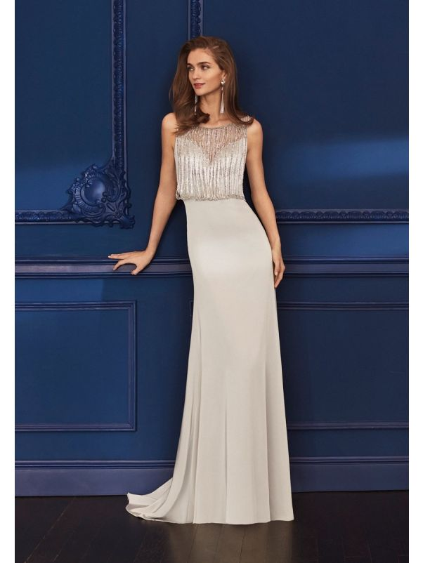 Beaded Light Beige Crepe Gown