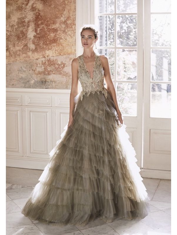 Embroidered Ruffle Evening Gown