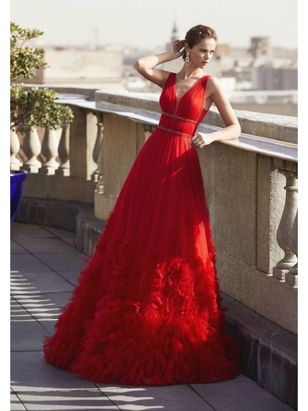 Beaded Ruffle Evening Gown