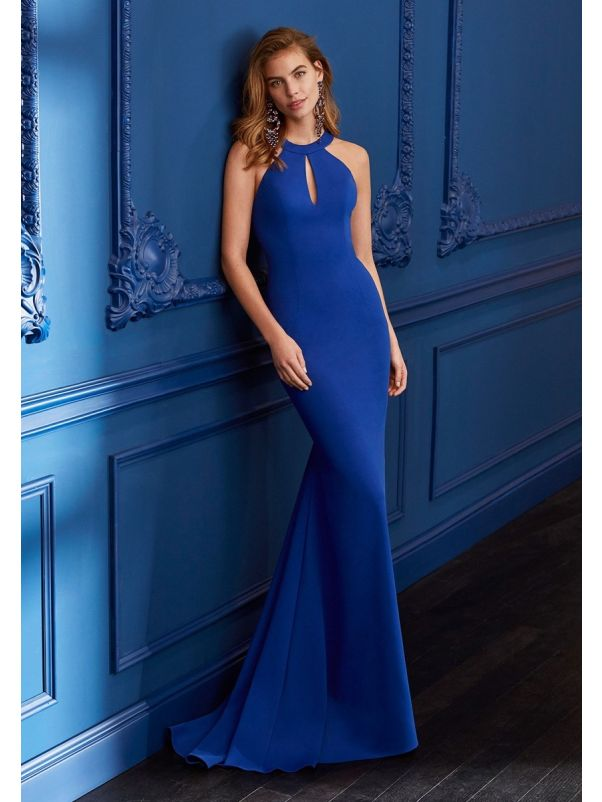 Fitted Crepe Gown With Keyhole Detailing