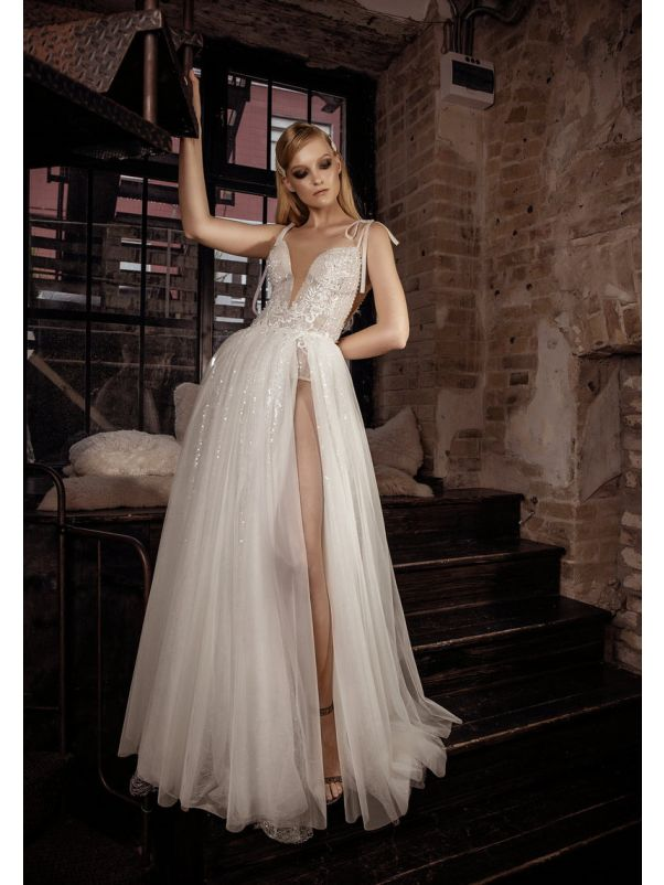 Beaded High Slit Wedding Dress