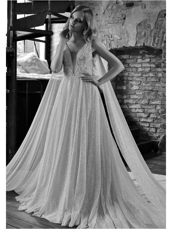 Glitter Tulle Wedding Dress With Cape