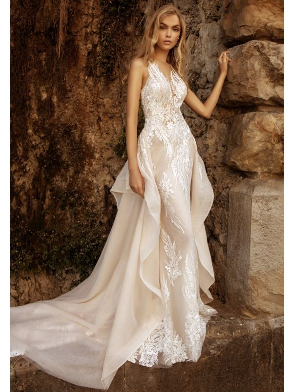 Embroidered Wedding Dress With Overskirt