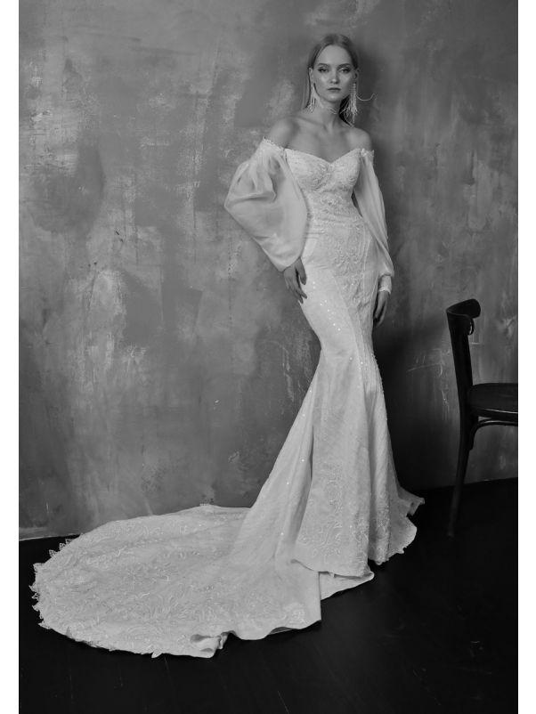 Beaded Wedding Dress With Puffed Sleeves