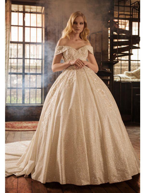 Heavily Beaded Princess Wedding Dress