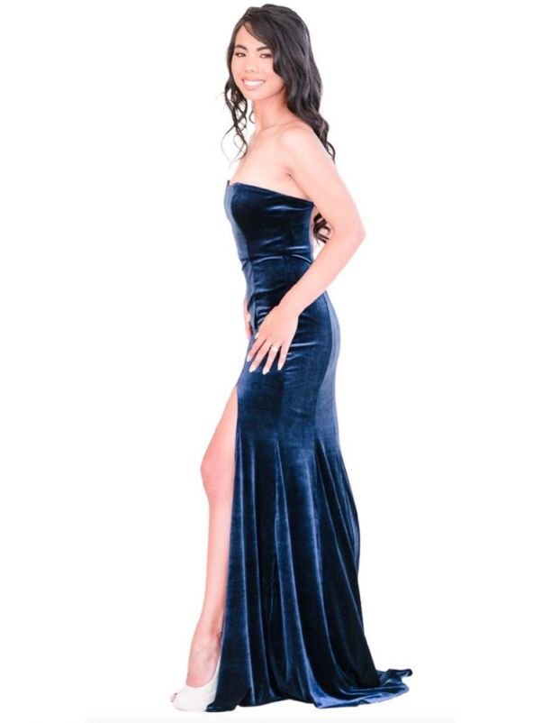 Navy Blue Velvet Bridesmaid Dress
