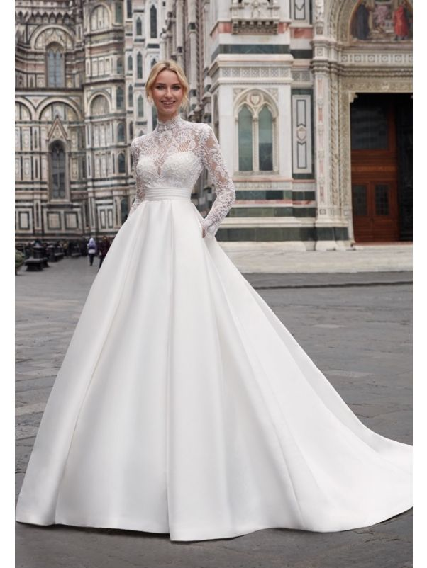 Long Sleeves Mikado Ball Gown