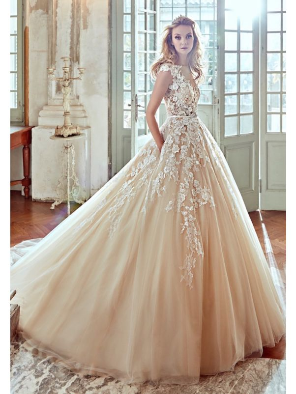 Floral Applique Lace Ball Gown