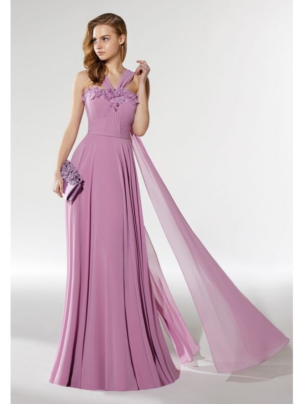 Beaded Flowers Chiffon Gown