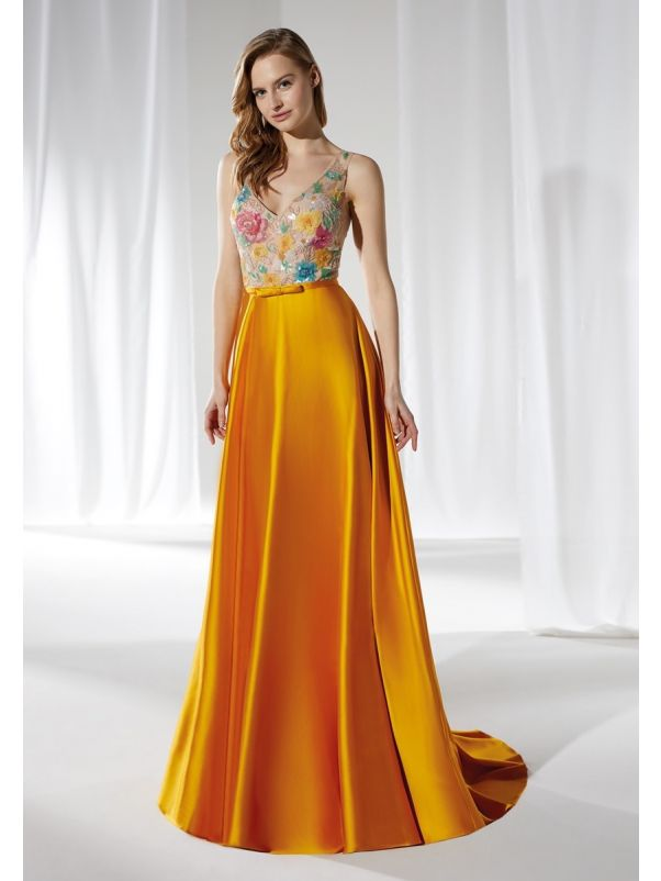 Beaded Flowers Satin Gown