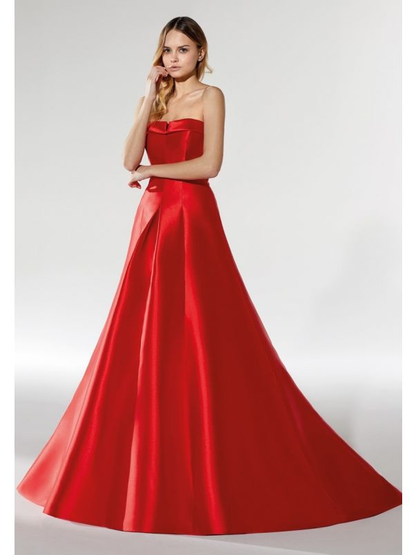 Red Mikado Evening Dress
