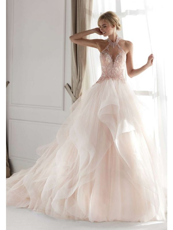 Fantasy Blush Pink Ruffle Wedding Dress