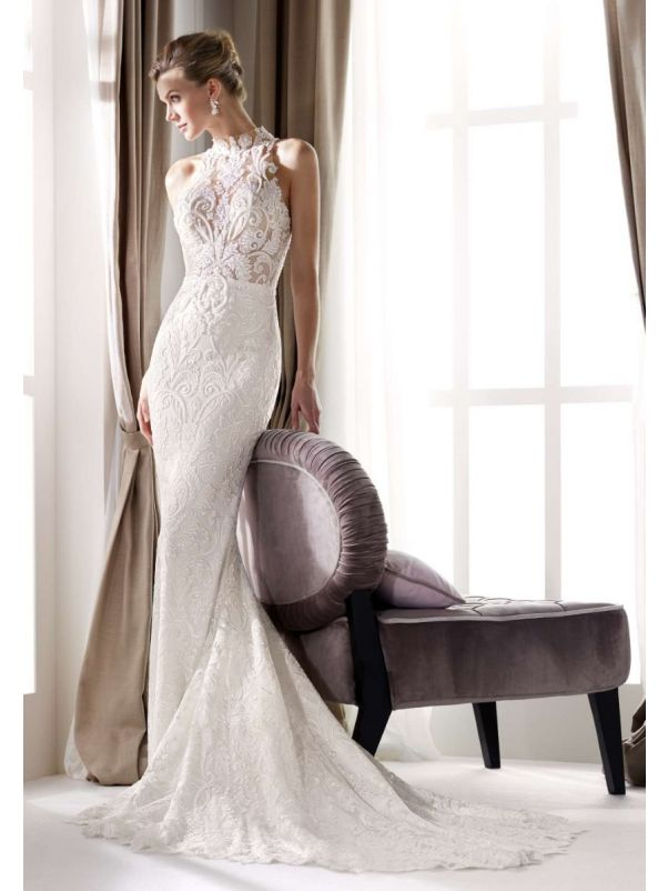 High Neck Wedding Dress with Sheer Back