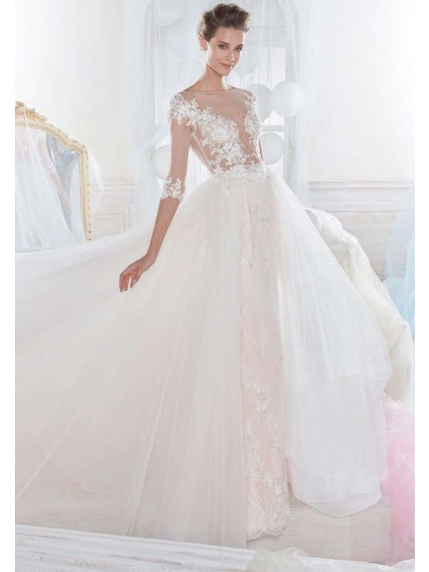 Embellished Three-Quarter Sleeves Mermaid Wedding Dress