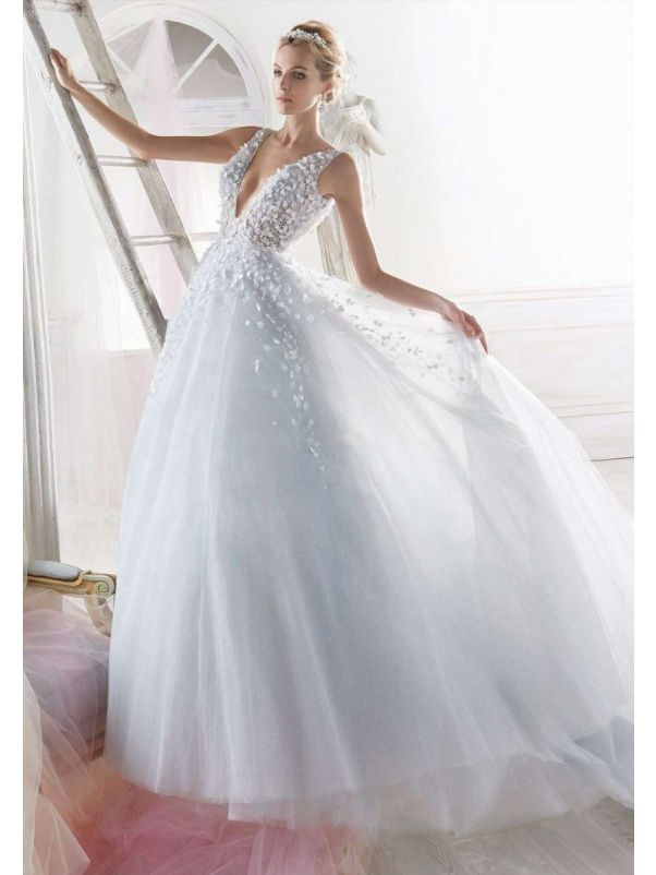 Flower Blossom Light Blue Princess Ball Gown