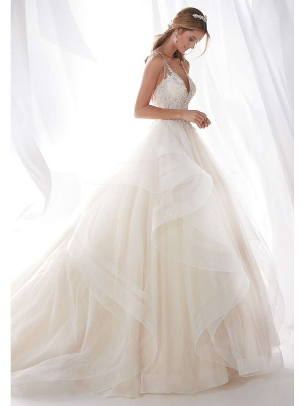 Beaded Ruffle Princess Ball Gown