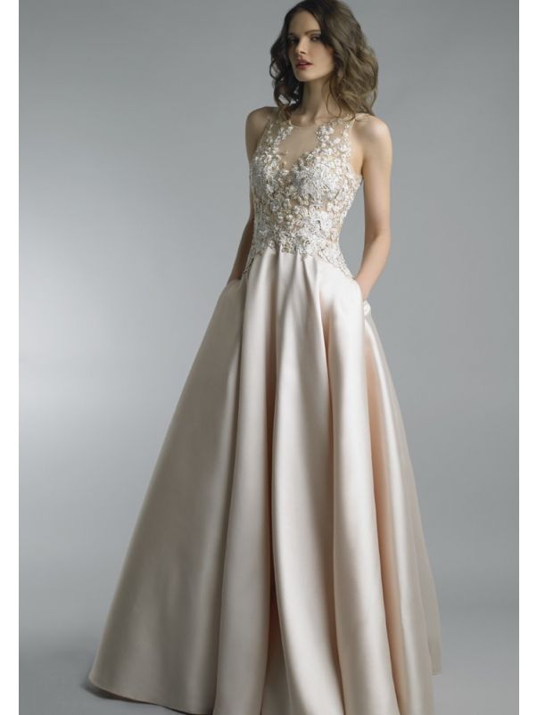 Beaded Flowers Satin Ball Gown