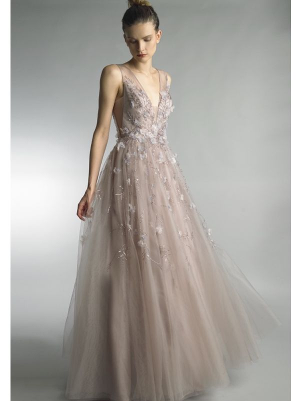 Beaded Floral Tulle Gown With Sheer Back