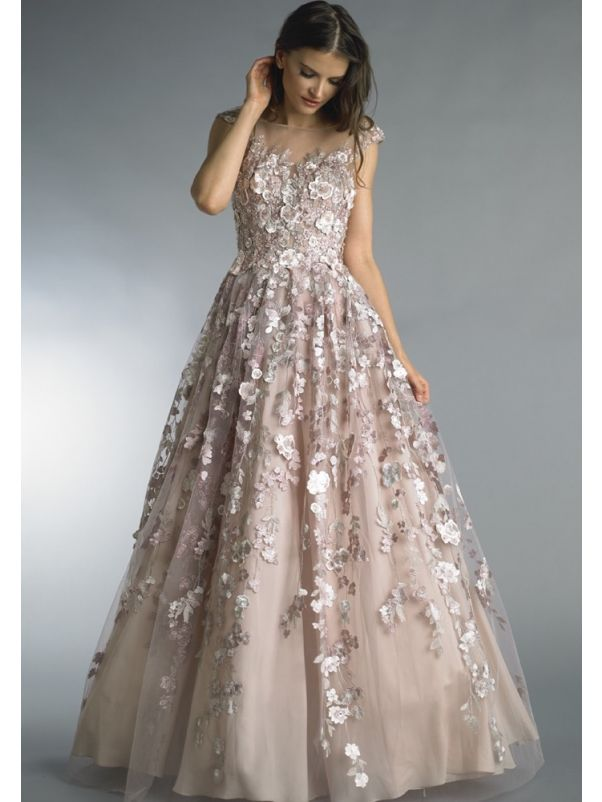 Beaded Flowers Tulle Gown