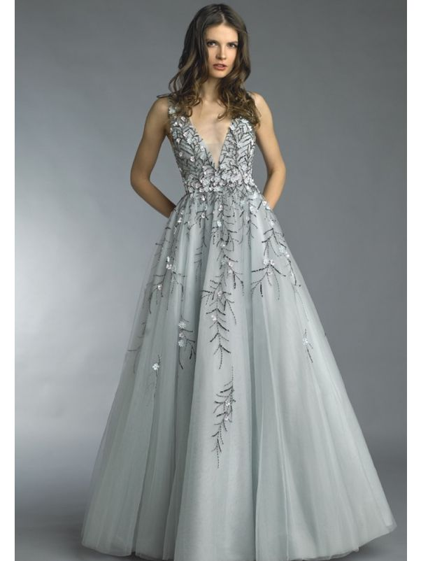 Beaded Flowers Tulle Evening Gown