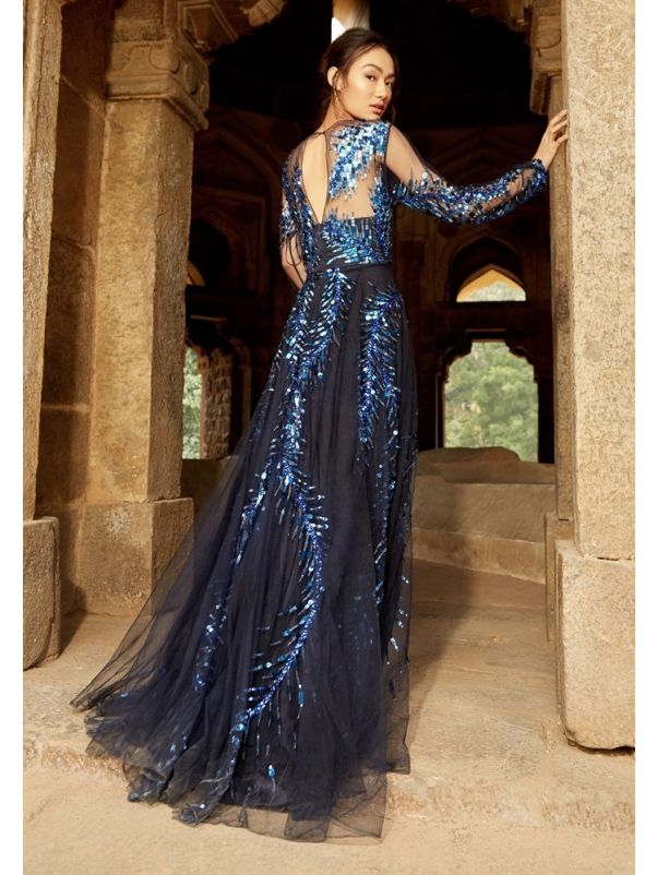 Beaded Long Sleeves Tulle Gown