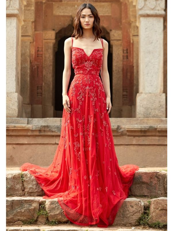 Beaded Tulle Evening Dress With Straps