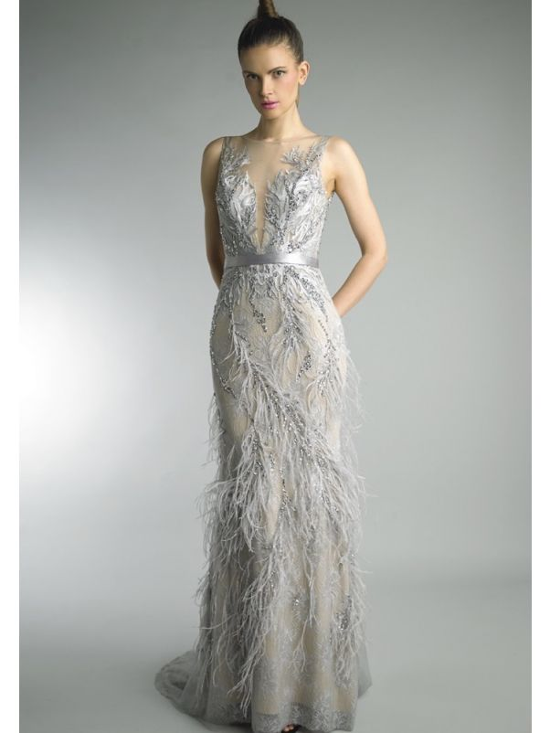 Beaded Mermaid Evening Dress With Feathers