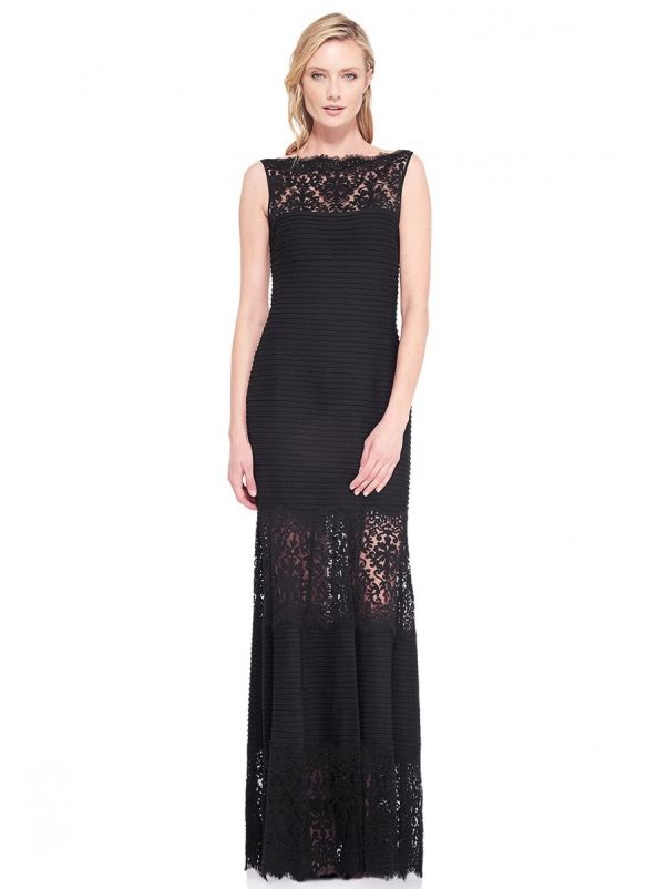 Pintuck Evening Dress With Lace Inserts