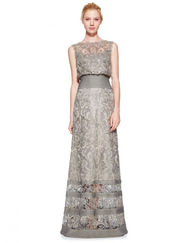 Lace Embroidered Evening Dress