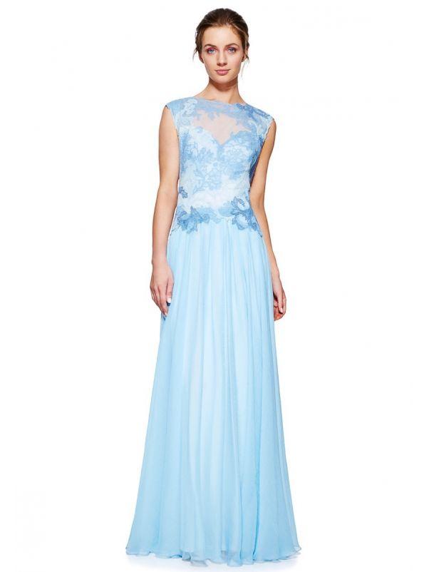 Embroidered Chiffon Evening Dress