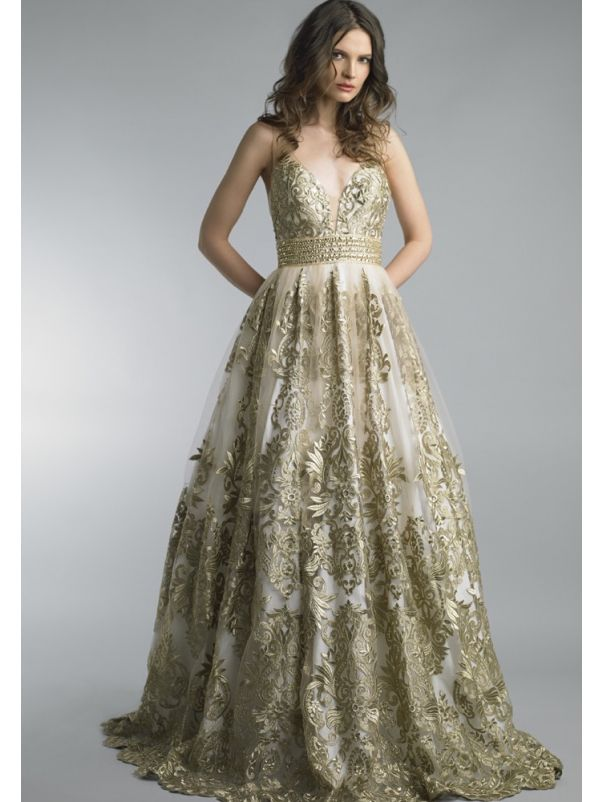 Gold Embroidered Tulle Evening Dress