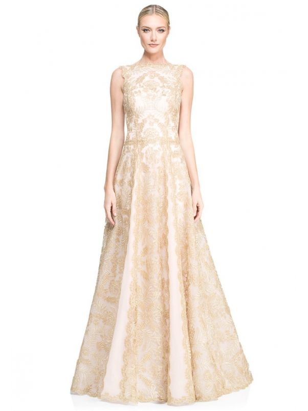 Gold Lace Evening Gown