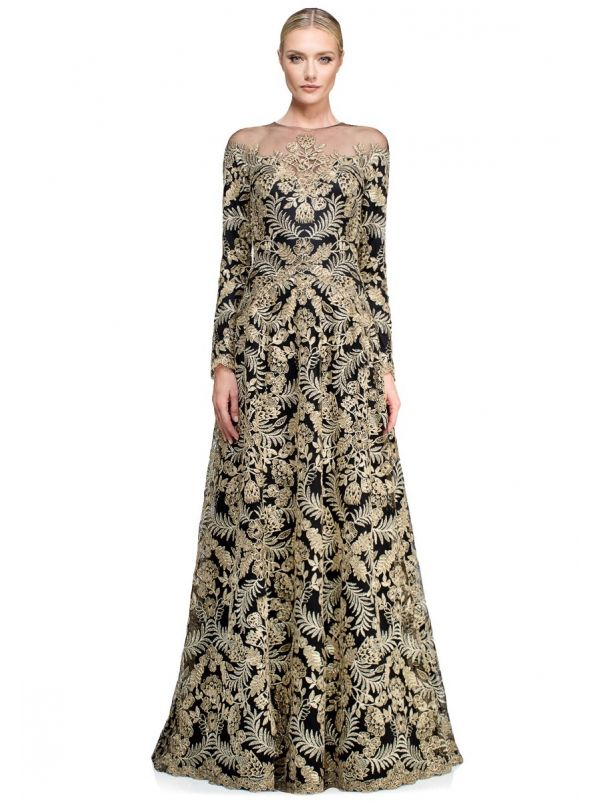 Embroidered Long Sleeves Evening Dress