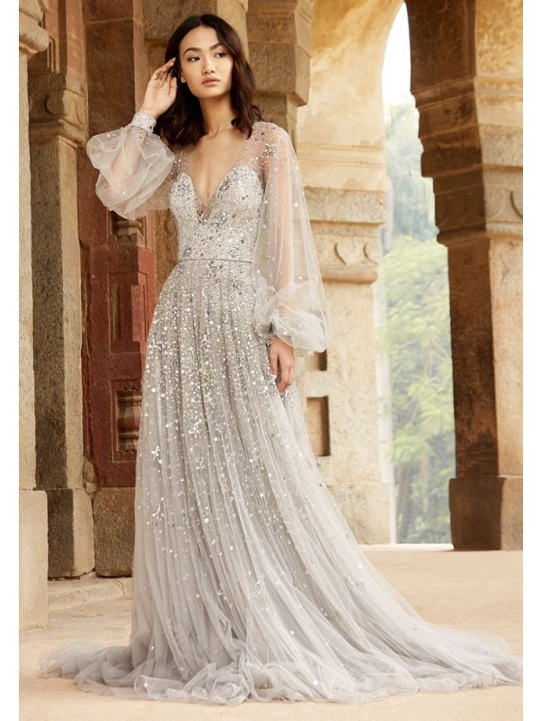 Heavily Beaded Tulle Gown With Sleeves