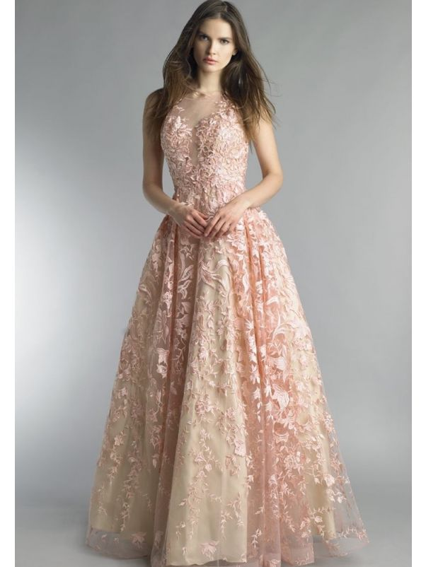 Embroidered Blush Pink Ball Gown