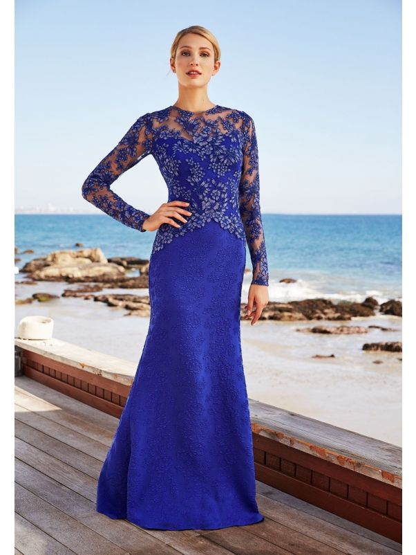 Embroidered Long Sleeves Gown