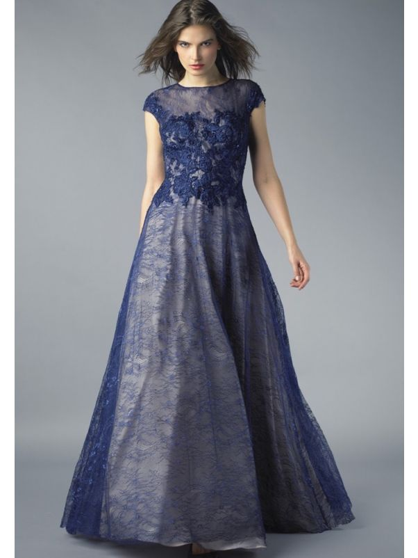 Embroidered Lace Gown With Cap Sleeves