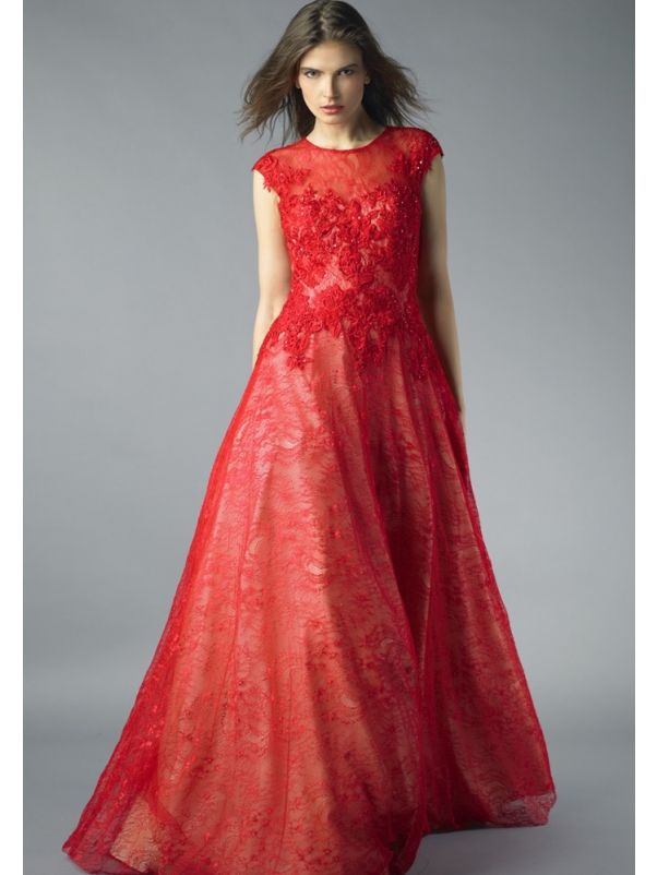 Beaded Red Lace Dress