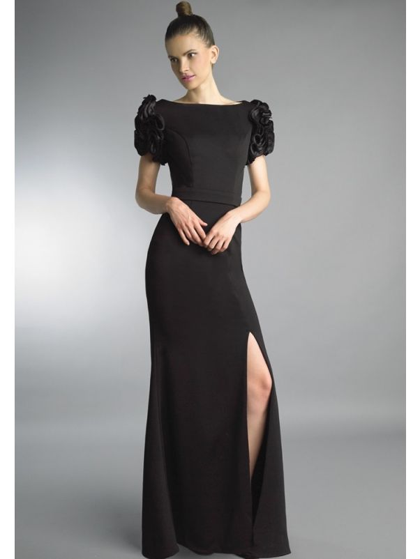 Black Crepe Slit Gown With Sleeves