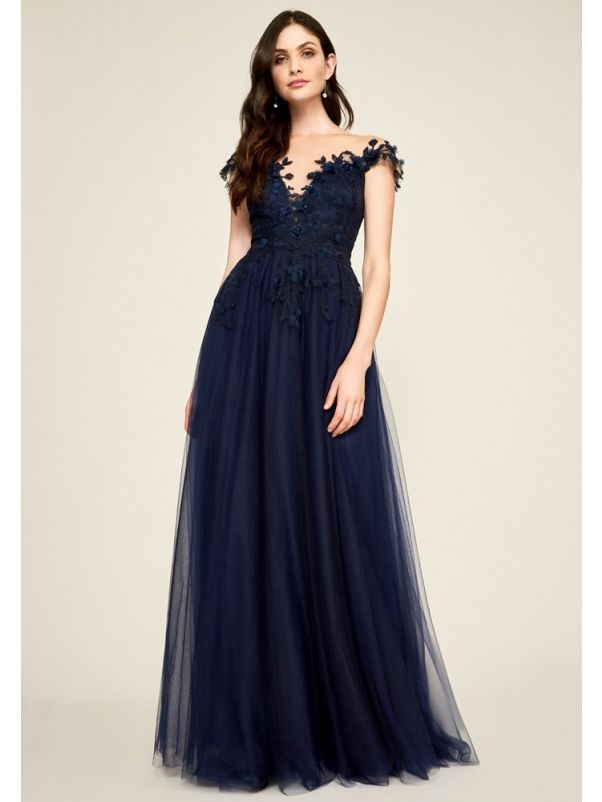 Embroidered Flower Tulle Gown