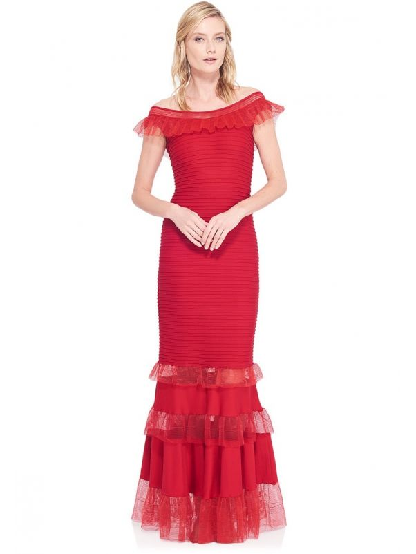 Red Pintunk Gown